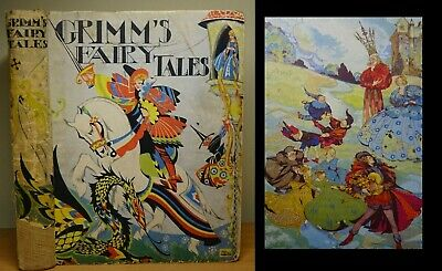 c1920 Grimm's Fairy Tales RIE CRAMER First Edition Antique ILLUSTRATED Book