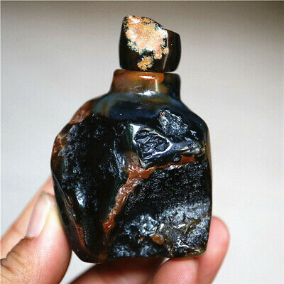 China Exquisite Hand-carved Natural Nodules Agate Snuff Bottle