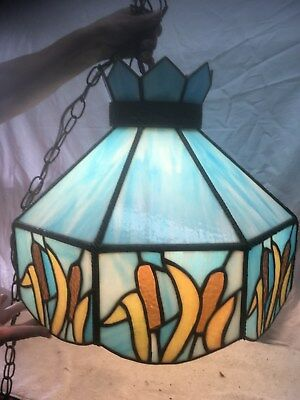 Vintage Blue Stained Slag Glass Leaded Hanging Ceiling Cat Tail Light with chain