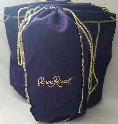 Lot of 10 Crown Royal Purple and Gold  12 x 9 Inch Drawstring Bags