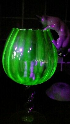 Large Uranium Glass Brandy Balloon Cat And Mouse Ornament.mid Century.