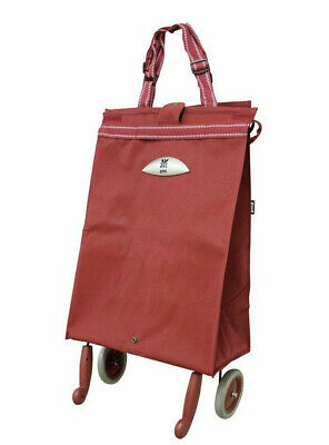 GIMI Brava Reusable Foldable Shopping Bag Caddie Grocery Trolley on Wheels RED