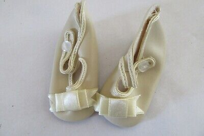 Playhouse Collection Doll Shoes - Cream  w/ Bows & Button Strap - Style 282-NIP