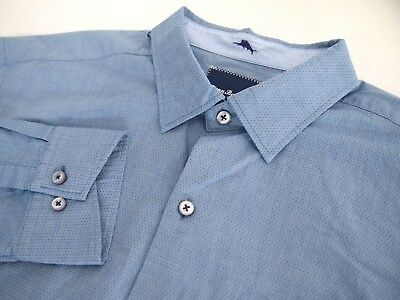 Tommy Bahama Mens Shirt L Collared Long Sleeve Button Blue Microdot Texured