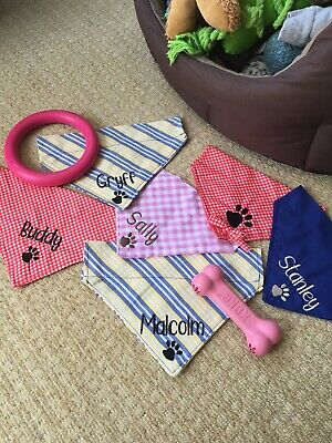 Dog bandana Embroidered Personalised Staffie Frenchie Dachshund Pug Cockapoo Pit