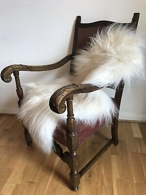 Antique Louis XIV Carver Chair Carved Oak Scroll Hallway Pink Beaded Wide Seat
