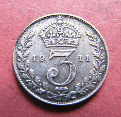 A nice 1911 George V silver threepence coin