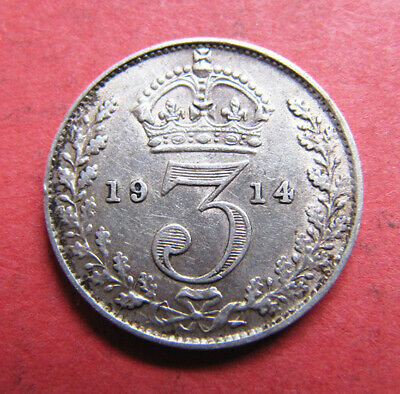 A nice 1914 George V silver threepence coin
