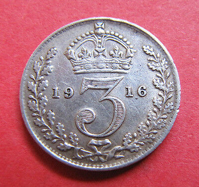 A nice 1916 George V silver threepence coin