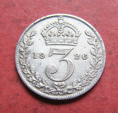 A nice 1926 George V silver 'key date' threepence coin