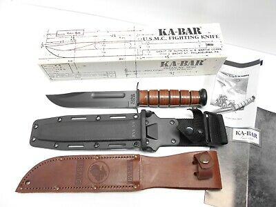 "KA-BAR 1217 Full Size 7"" blade Straight Edge USMC, 2 Sheaths, leather / kydex"