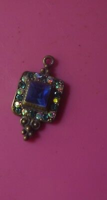 Estate- Vintage Rhinestone Art Deco Revival Pendant  Sapphire Blue 2 post FREE