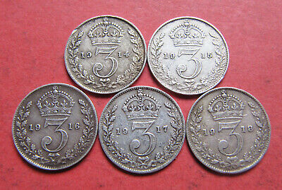 A set of 5 x George V silver threepence coins - 1914-1918 World War 1 years