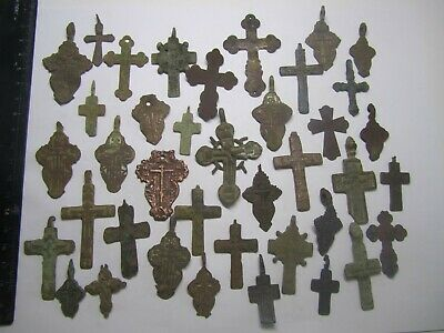 Metal detector finds.Mix lot ancient crosses (16-19 th century) 100 pieces.