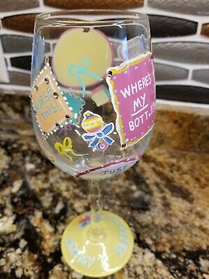 "Hilarious Lolita New Mommy Gift ""Nurse This!"" Hand Painted Colorful Wine Glass"