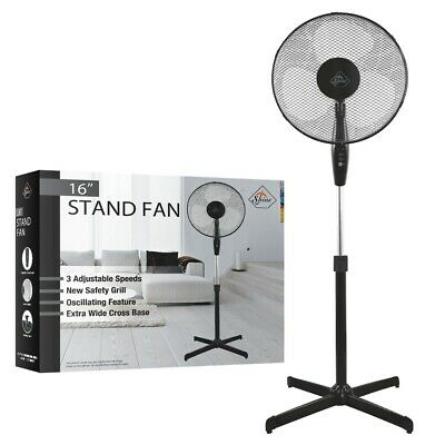 "16"" Pedestal Fan Oscillating Black Colour Brand New Cross Base UK Stock"