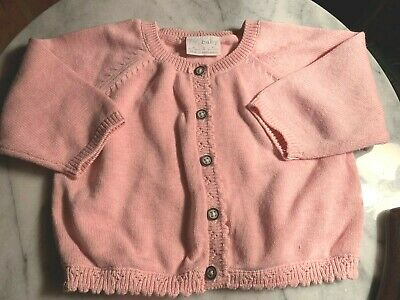 Baby cotton knittied cardigan.Brand new.Pastel Pink.Button front.Size 00-1.Warm.