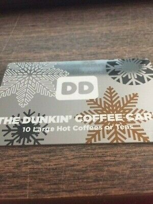 Dunkin Donuts 10 Large Hot Coffees/Teas Gift Card No expiration 1 card/10 drinks