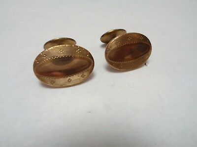 Antique Victorian GOLD FILLED Ornate Etched Boarder Oval Cuff Links