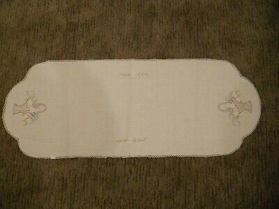 Vintage Handmade Embroidered Table Runner Dresser Scarf Crocheted Edge Floral