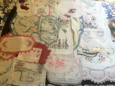 Lot of 35 Vintage Antique Embroidered Linens Doilies Runners Table Cover NICE