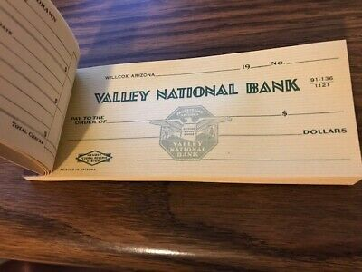 A34 - Vintage Willcox Arizona Valley National Bank Full Unused Checkbook Checks
