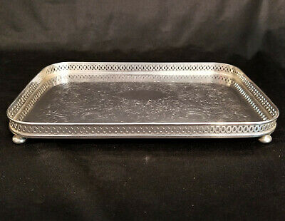 """A VINTAGE SILVER PLATED TRAY - Sheffield USA 9"""" x 6"""" Footed and Rimmed Clean"""