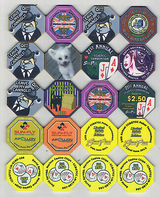 Lot of 20 Misc Octagon Casino Chips from all over - Personals, Samples & More