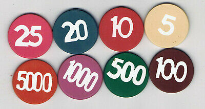 Lot of 8 Die Cut Inlay Lammers - Casino Chips - All Different Denominations