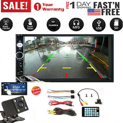 """Car Stereo Radio 2 DIN 7"""" HD MP5 FM Player Touch Screen + Rear Camera"""