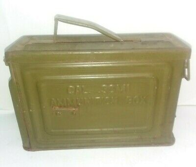 VINTAGE WWII 50 Cal Ammo Can Box M2 Ww2 Flaming Bomb Gernade Linked