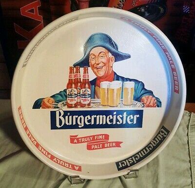 Collectibles Vintage Rare 1965 Burgermeister Beer Burgie Round Tin Serving Tray San Francisco Breweriana Beer Collectibles Breweriana Beer