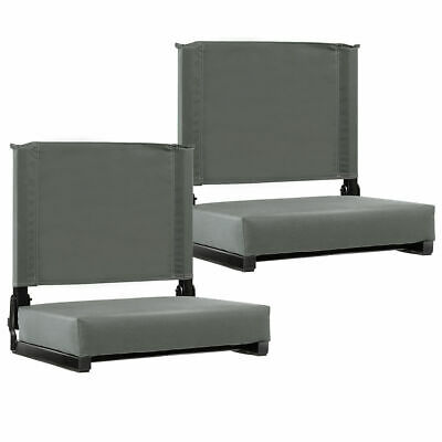2PCS  Portable Folding Padded Stadium Seat Sports Grandstand Back Chair Gray