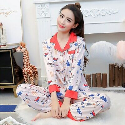 2019 New Fashion Korean Hot Women's Pajamas Set Long Sleeve Milk Silk Home Wear