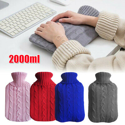 2000ml HOT WATER BOTTLE Knitted Cover Winter Warm Rubber Bag Relaxing Warmer NEW