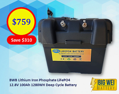 Lithium Iron (LiFePO4) Deep Cycle Battery w/ box 12V 100AH & Free Charger