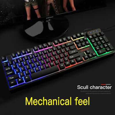Mechanical USB Wired Backlight Gaming Keyboard Rainbow Color LED Light PC Laptop
