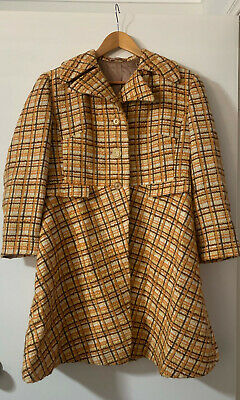 Vintage Plad Coat Womens 1970 Wool Satin Fully Lined Above Knee 12 L 14