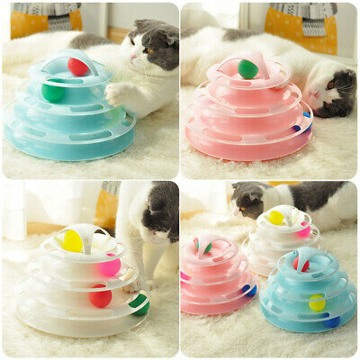 Pet Cat Interactive Toy Funny Track Cat Roller Toy  4Layers Track Play Ball GIFT