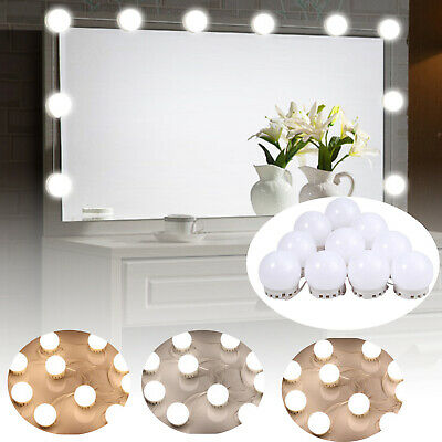 Vanity Mirror Lights Kit Makeup Hollywood Dimmable Lighting 10LED Bulbs + Remote