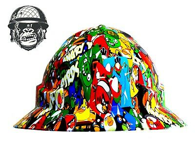 Custom Hydrographic Wide Brim Safety Hard Hats ANGRY BIRDS