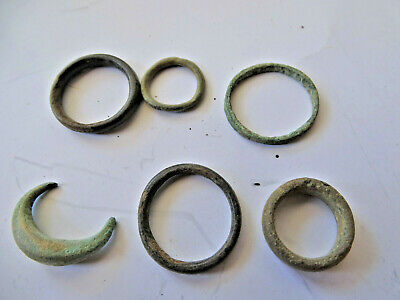Rare Lot CELTIC Ancient Coin Bronze Ring / Proto Money 6PR