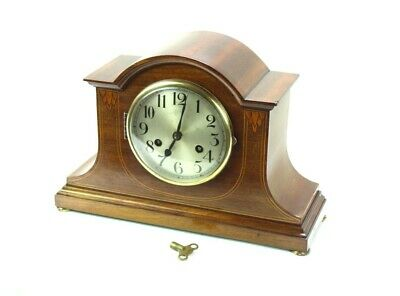 Vintage Inlaid Mahogany Cased Westminster Chiming Mantel Clock [5390]