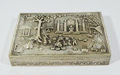 ANTIQUE CHINESE EXPORT SILVER BOX 19/20th CIGARETTE CASE RELIF