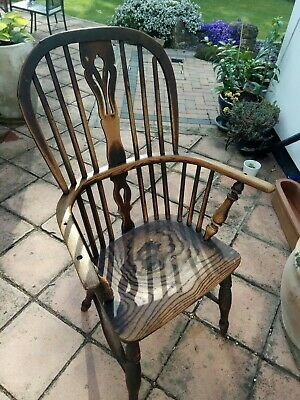 Georgian Windsor Stick Back Elm Chair original.