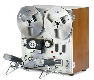 AKAI X-150D REEL TO REEL DECK @ 15 IPS in Original Box w/Two DM-13 Microphones