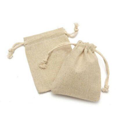 50X Small Burlap Linen Jute Sack Jewelry Pouch Drawstring Wedding Gift Mini Bags