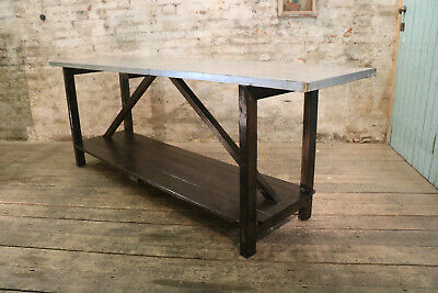 Pine Industrial Antique Drapers Kitchen Table with a Zinc Top Vintage circa 1920