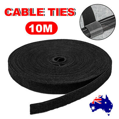 10M Reusable Fastener Hook Loop PC TV Cable Cord Ties Tidy Strap Wrap Adjustable