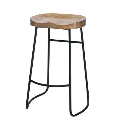 Vintage Rustic Metal Industrial Bar Stool Kitchen Pub Wood Top Shabby Chic Chair
